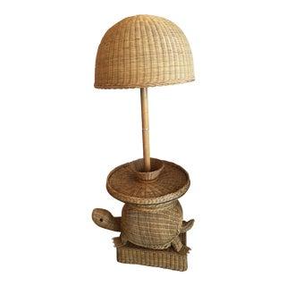 Vintage Wicker Turtle Floor Lamp End Side Table
