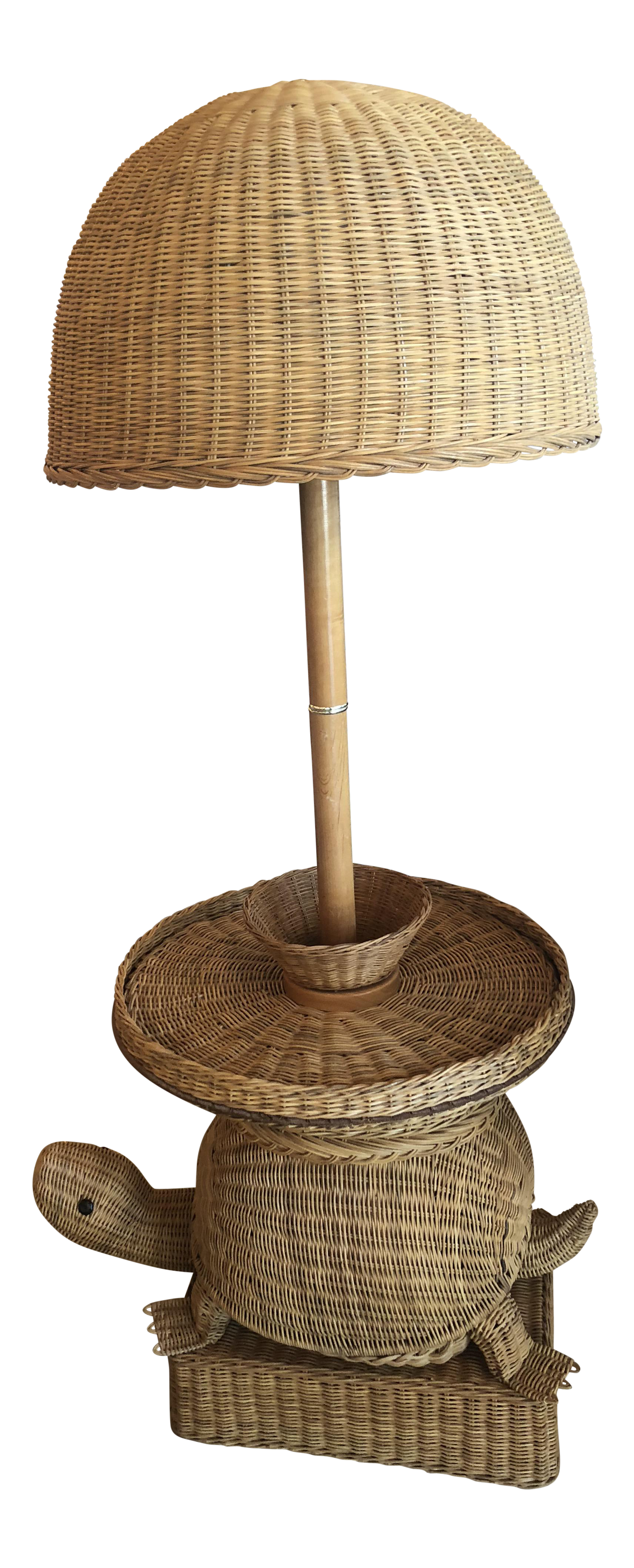 Vintage Wicker Turtle Floor Lamp End Side Table For Sale   Image 14 Of 14