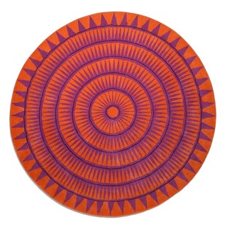 Hand Tufted Wool Sunteeth Collection Orange Purple Rug - 9' X 9' For Sale