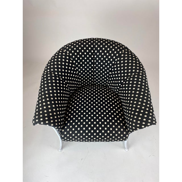 Rare 1950s Russell Woodard Black and White Polka Dot Patio Wrought Iron Set For Sale - Image 9 of 13