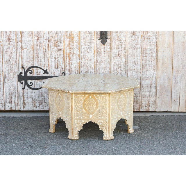 Charming Anglo Indian Farmhouse Lotus Inlaid Coffee Table For Sale - Image 4 of 13