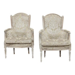 Striking French Louis XVI Painted Bergere's , a Pair For Sale