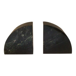 Modernist Black Nero Marquina Polished Marble Bookends For Sale