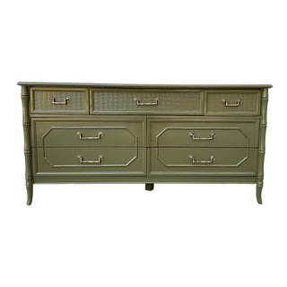Green Lacquered Faux Bamboo Dresser by Broyhill For Sale