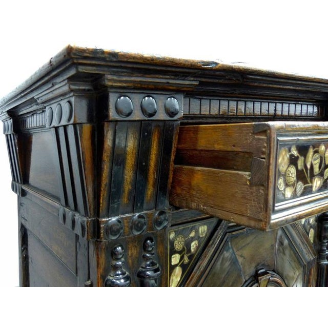 Mother-of-Pearl Restoration Charles II English Cabinet circa 1660-1685, Mother-of-Pearl Inlays For Sale - Image 7 of 11