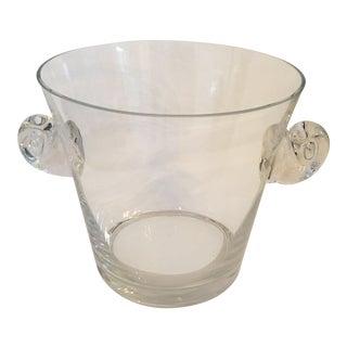 1980s Tiffany Crystal Scroll Handles Ice Bucket For Sale