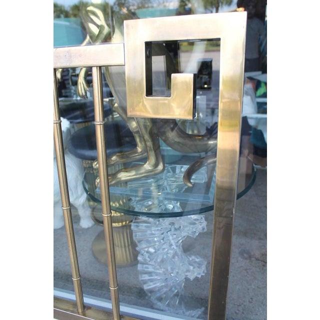 Mid 20th Century Mastercraft Greek Key Brass King Size Headboard For Sale - Image 5 of 9