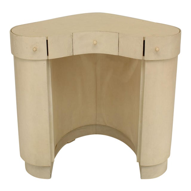 Italian Art Deco White Parchment Deminuative Triangular Form Lady's Dressing Table For Sale