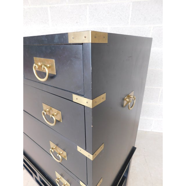 """Permacraft by Sanford Furniture Black Lacquer Asian Style Chest 35""""w X 43""""h For Sale - Image 9 of 12"""