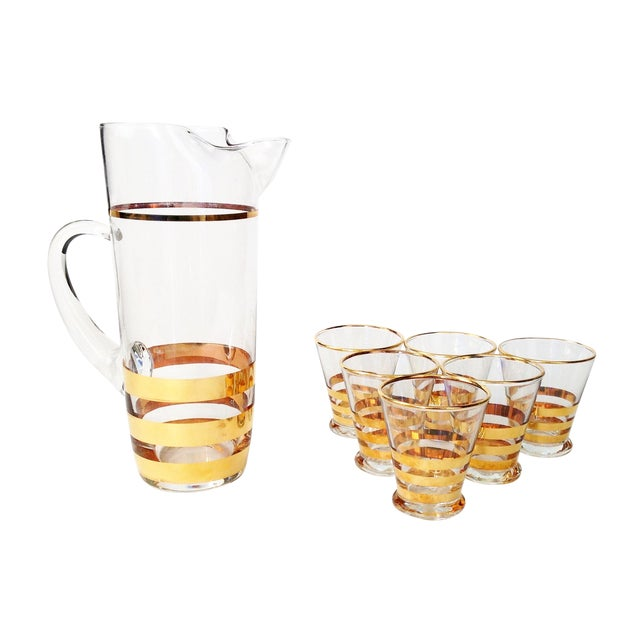 Mid-Century Gold Striped Pitcher & Six Glasses - Image 1 of 6