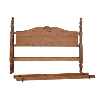 Early 20th Century Antique French Provincial Style Pine King Size Bedframe For Sale