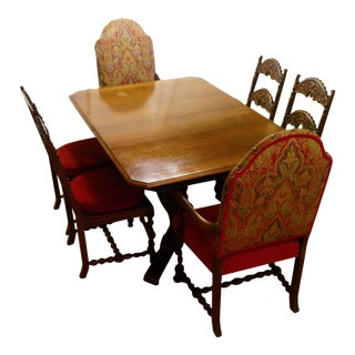 1920s Jacobean Dining Table and Chairs For Sale