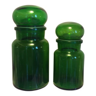 Vintage Belgian Glass Apothecary Jars- 2 pc.