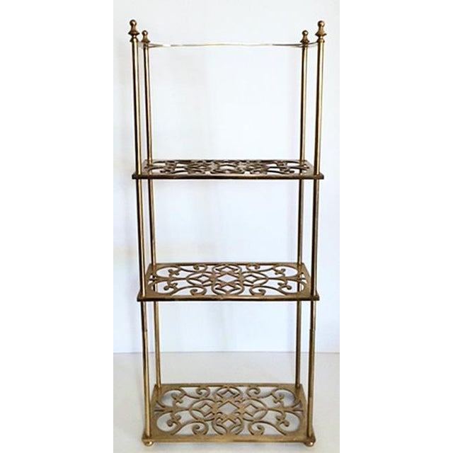 Mid 20th Century Vintage Peerage Brass Freestanding 3-Tier Shelf For Sale - Image 5 of 6