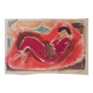 Vintage Original Abstract Figure Painting