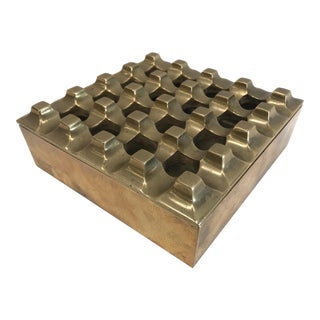 1970's Solid Brass Modernist Grid-Top Ashtray For Sale