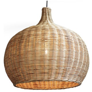 Large Raw Wicker Bell Lantern
