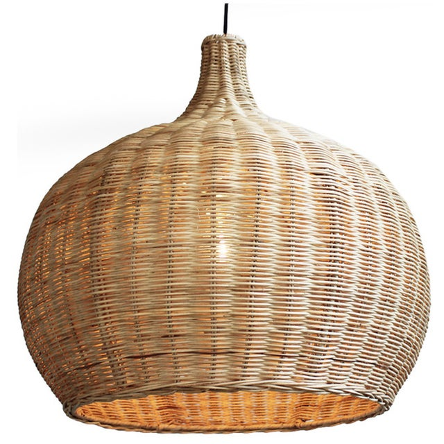 Image of Large Raw Wicker Bell Lantern