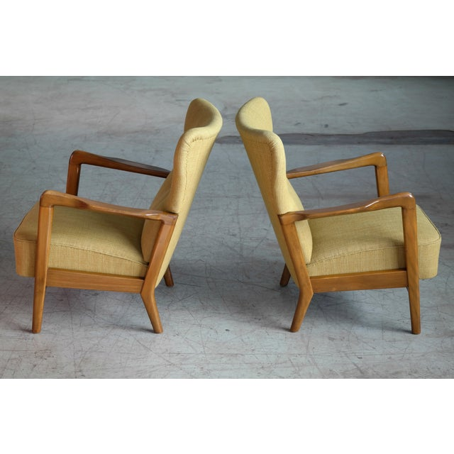 1960s Fritz Hansen Danish Pair of Low Back Lounge Chairs With Open Armrests, 1940s For Sale - Image 5 of 13
