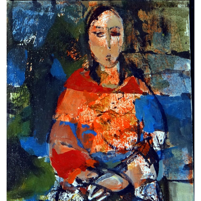 """1950s 1950s Vintage Ruth Schloss """"Sephardic Woman"""" Oil on Canvas Painting For Sale - Image 5 of 10"""