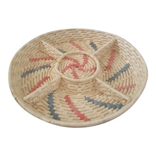 Vintage Southwestern Boho Chic Woven Chip and Dip Basket Tray For Sale