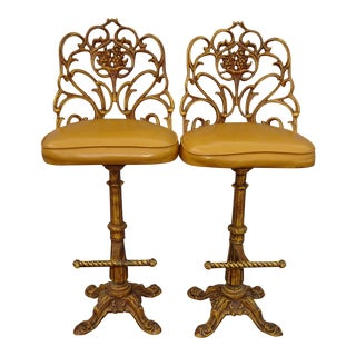 Vintage Spanish Style Cast Iron Gold Yellow Ornate Scrolled Bar Stools- A Pair For Sale