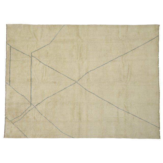 Contemporary Moroccan Area Rug With Modern Style - 10'03 X 13'07 For Sale