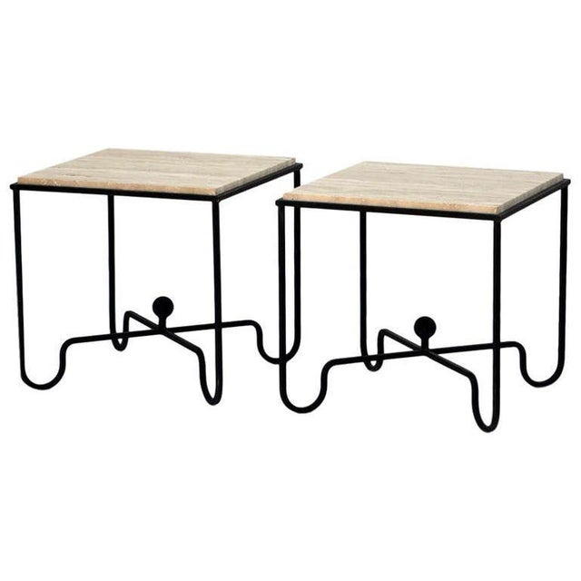 "White Contemporary ""Entretoise"" Wrought Iron and Travertine Tables - a Pair For Sale - Image 8 of 8"