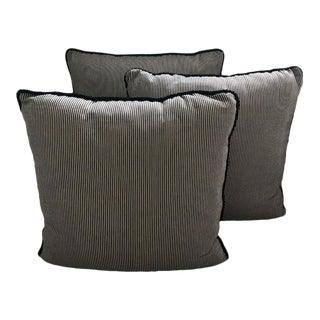 Custom Regency Ticking Stripe Pillows - Set of 3 For Sale