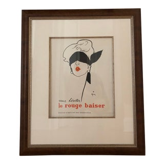"""Le Rouge Baiser"" Vintage Cosmetics Framed Print For Sale"