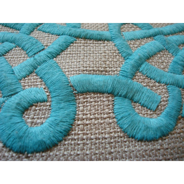 Turquoise Embroidered Down Pillow For Sale - Image 4 of 4