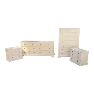 Drexel Heritage Status Collection 5 Pc 1980s White Washed Maple Bedroom Set For Sale