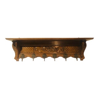 Antique Oak Wall Shelf With Cherub Coat Hangars and Carving For Sale