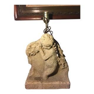 1980s Vintage Cast Stone Sculpture Lamp For Sale