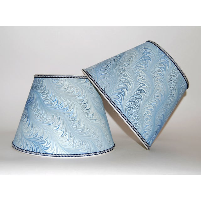 Italian Blue & White Marble Lampshades - A Pair - Image 2 of 4