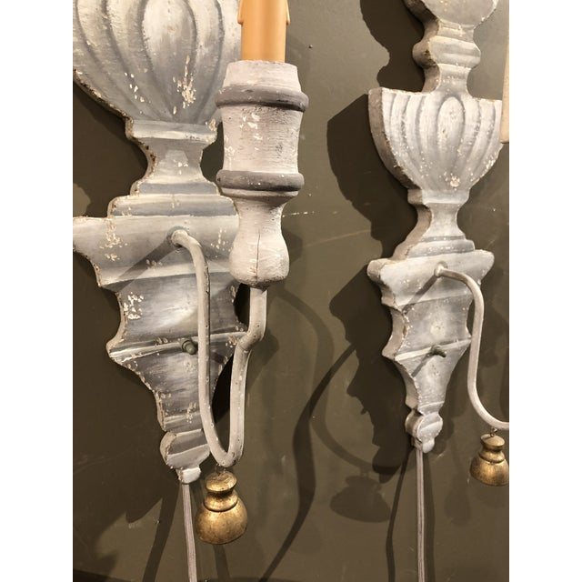 Painted Tromp L'oeil Wood Sconces - a Pair For Sale - Image 4 of 7