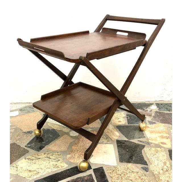 Mid-Century Modern Danish Style Folding Rolling Bar / Tea Cart For Sale - Image 13 of 13