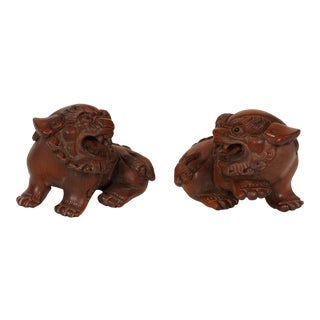 Vintage Chinese Boxwood Carved Foo Dogs - Set of 2 For Sale