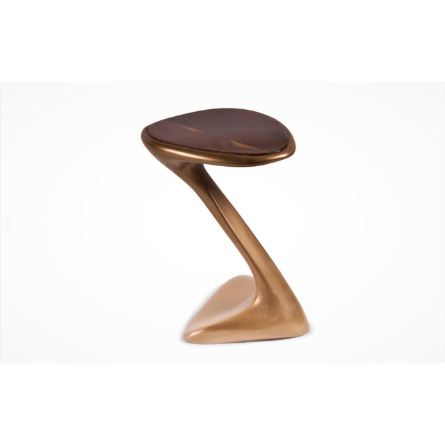 Abstract Palm Side Table Gold Finish With Walnut Top For Sale - Image 3 of 9