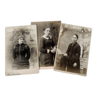 Antique Victorian Cabinet Card Photographs of Women - Set of 3 For Sale