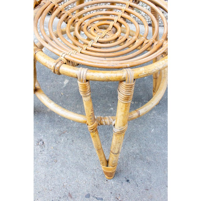 Vintage French Bamboo and Rattan Dining Chairs- Set of 8 For Sale - Image 10 of 13