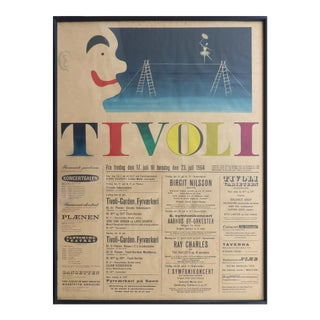 1964 Concert Poster From the Tivoli Gardens in Copenhagen, Denmark For Sale