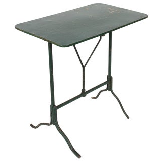 Antique Italian Green Painted Iron Tilt-Top Garden Table For Sale