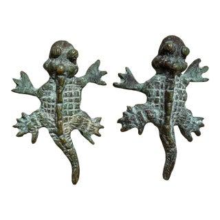 Vintage 1970s Mexican Verdigris Brass Chameleon Pulls - a Pair For Sale