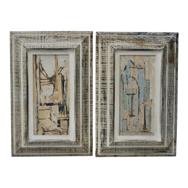 Matching Pair of Parker Lee Mid Century Modern Abstract Gouache C.1950s For Sale