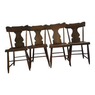 Handmade Primitive Wood Chairs- Set of 4 For Sale