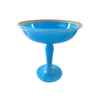 French Antique Blue Opaline Glass Compote W/Gilt Detailing