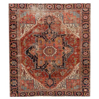 "Antique Distressed Heriz Rug,10'1"" X 11'7"" For Sale"