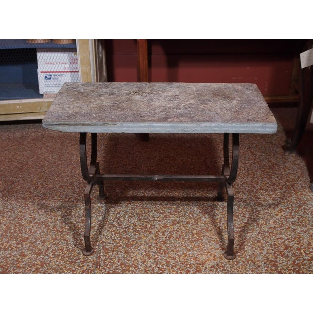 French Wrought Iron and Stone Top Coffee Table For Sale - Image 4 of 6