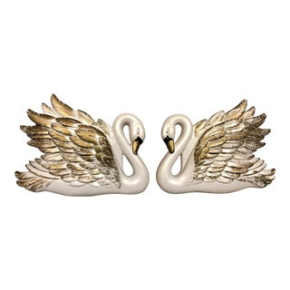 1960s Vintage White & Gold Chalk Ware Swans- A Pair For Sale